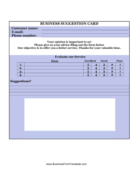 Business Suggestion Card Business Form Template