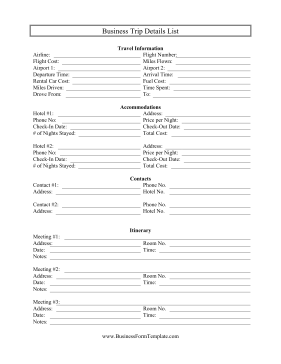 Business Trip Details List Business Form Template