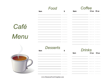Cafe Menu Business Form Template