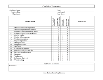 candidate application form template - candidate evaluation form
