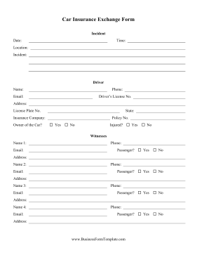 car insurance form template with collision etc...  Car Insurance Exchange Form Template