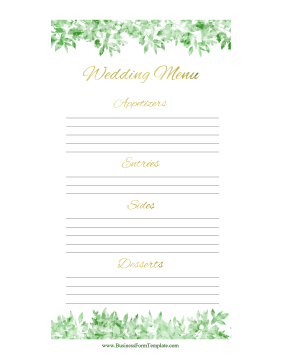 Catering Menu Wedding Business Form Template