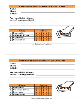 Catering Service Customer Survey Card Business Form Template