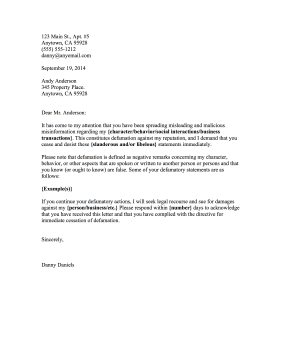 Free defamation (slander / libel) cease and desist letter template.