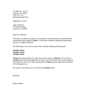 Cease And Desist Harassment Business Form Template  Cease And Desist Sample Letter