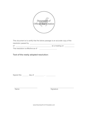 Certified Copy of Resolution Template