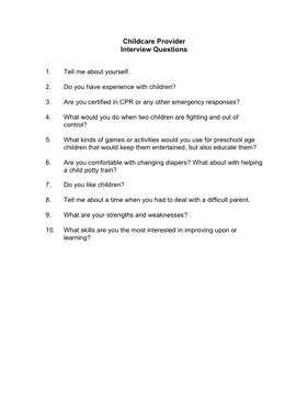 Childcare Provider Interview Questions Business Form Template