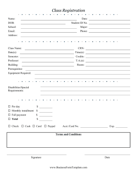 Class Registration Form Business Form Template