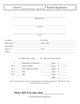 Class Reunion Registration Business Form Template