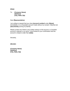 Close unauthorized account letter template for Account closure letter template