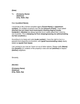 Complaint Letter Against Tenant Business Form Template