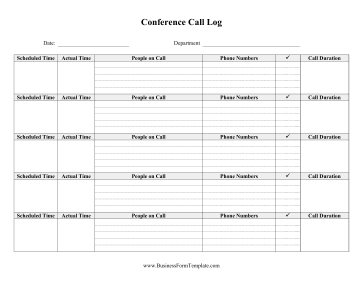 Conference Call Log Business Form Template