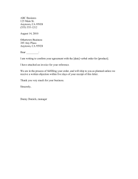 Letter To Confirm Verbal Order Business Form Template