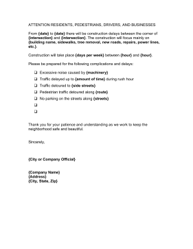 Construction Delay Letter Business Form Template