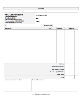 Construction Invoice Business Form Template And Construction Invoice Template Free