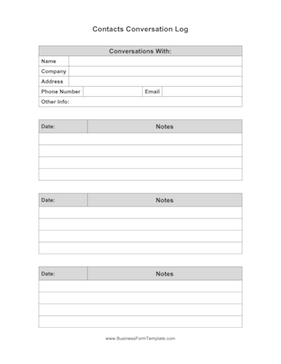 Contacts Conversation Log Template