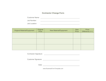Contractor Change Form Business Form Template