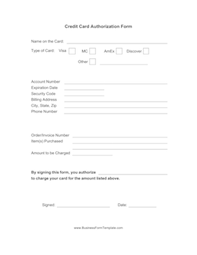credit card authorization form business form template