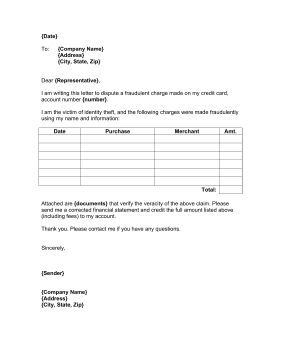 credit card dispute letter business form template