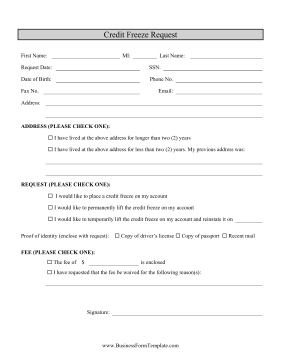 Credit Freeze Request Business Form Template