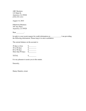 Credit Information Shared Business Form Template