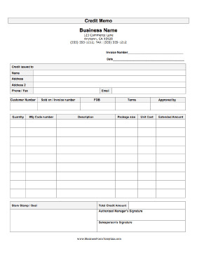 Credit Memo Business Form Template  Credit Note Form