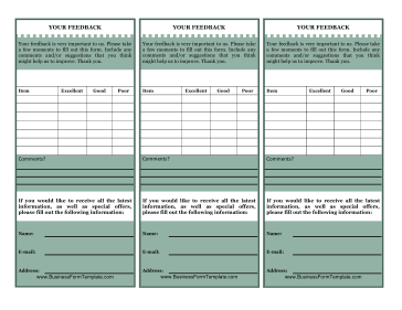 Customer Feedback Card Business Form Template  Feedback Form Template Free