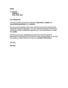 Customer Service Alteration Letter Business Form Template