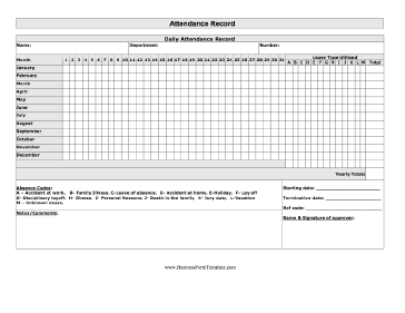 Attendance Record Business Form Template  Daily Attendance Sheet Template