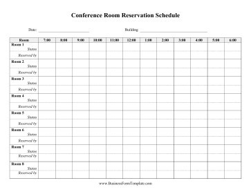 Daily Conference Room Reservation Template