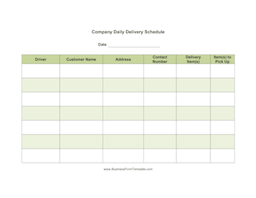 Daily Delivery Schedule Business Form Template  Daily Scheduler Template
