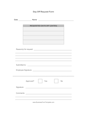 Day Off Request Form Business Form Template