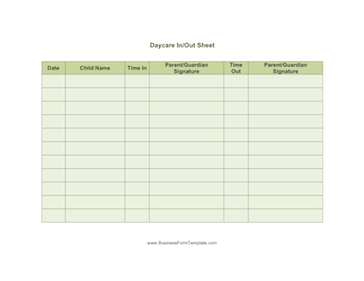 Daycare Sheet Multiple Business Form Template