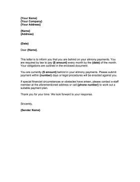 Demand Alimony Payment Letter Template - Formal demand for payment letter template