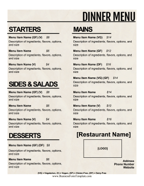 Dinner Menu Business Form Template