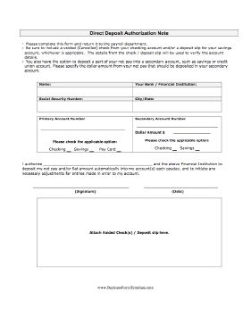 Direct Deposit Authorization Business Form Template