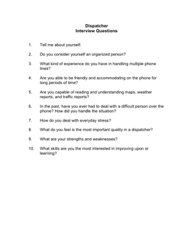 Dispatcher Interview Questions Business Form Template