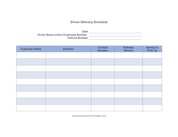 Driver Delivery Schedule Template