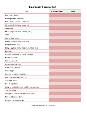 Emergency Supplies List Business Form Template