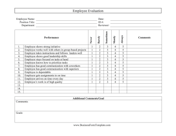 personnel evaluation form
