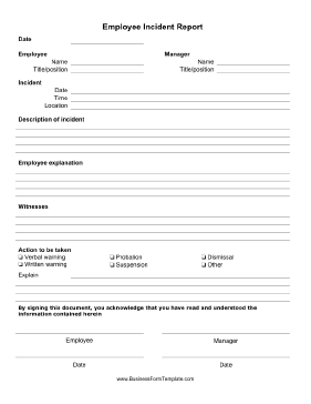 Employee Incident Report Form Business Form Template