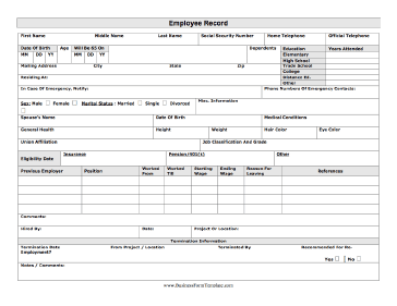 Employee Record Business Form Template