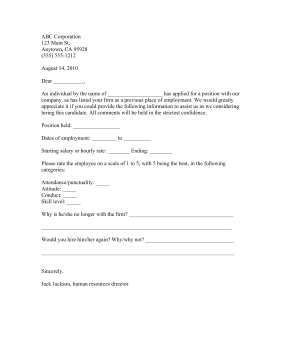 Employee reference request template for Employment reference check form template
