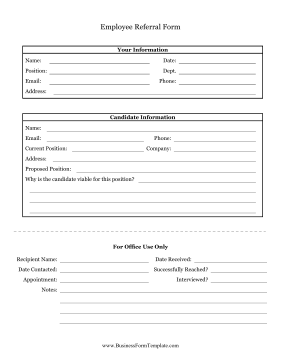 Employee Referral Form Business Form Template
