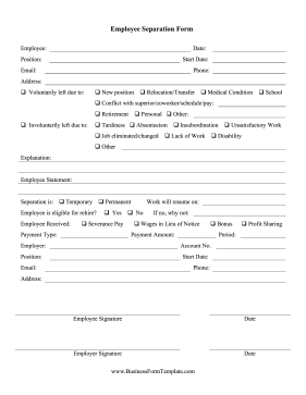Amazing Employee Separation Form Business Form Template Regard To Employee Termination Form Template Free