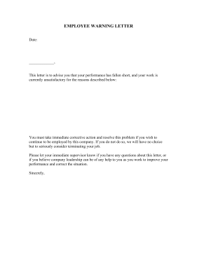 Employee warning letter template employee warning letter business form template altavistaventures Choice Image