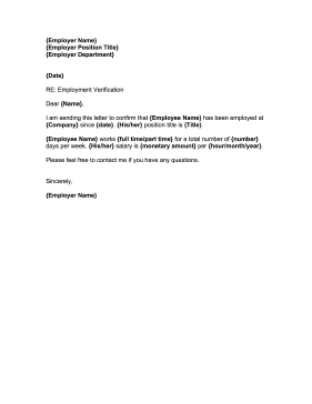 employment confirmation letter business form template - Verification Of Employment Sample Letter