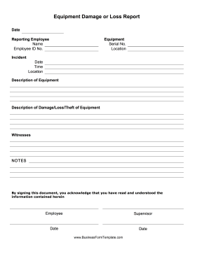 Equipment Damage Report Form Business Form Template