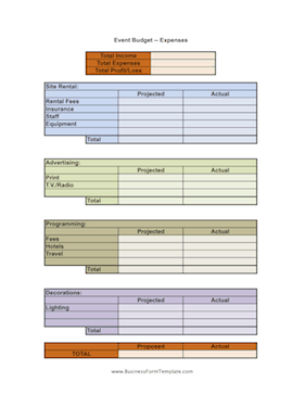 Event Budget Worksheet Business Form Template