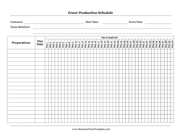 Event Production Schedule Business Form Template